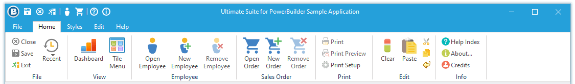 Ultimate Suite for PowerBuilder Advanced Ribbon